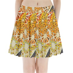 Abstract Starburst Background Wallpaper Of Metal Starburst Decoration With Orange And Yellow Back Pleated Mini Skirt
