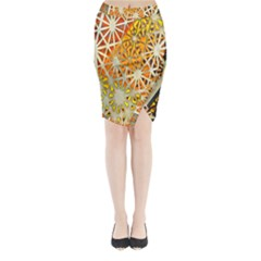 Abstract Starburst Background Wallpaper Of Metal Starburst Decoration With Orange And Yellow Back Midi Wrap Pencil Skirt