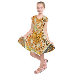 Abstract Starburst Background Wallpaper Of Metal Starburst Decoration With Orange And Yellow Back Kids  Short Sleeve Dress