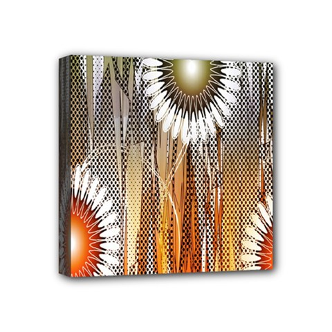 Floral Abstract Pattern Background Mini Canvas 4  x 4