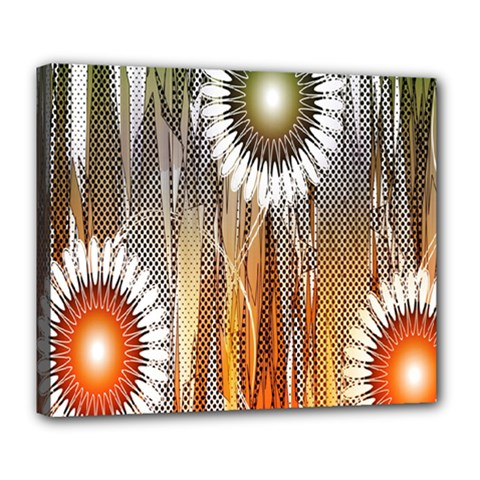 Floral Abstract Pattern Background Deluxe Canvas 24  x 20