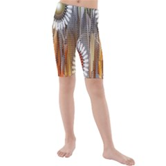 Floral Abstract Pattern Background Kids  Mid Length Swim Shorts