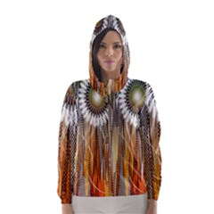 Floral Abstract Pattern Background Hooded Wind Breaker (women)