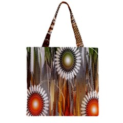 Floral Abstract Pattern Background Zipper Grocery Tote Bag