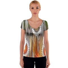 Floral Abstract Pattern Background Women s V-Neck Cap Sleeve Top
