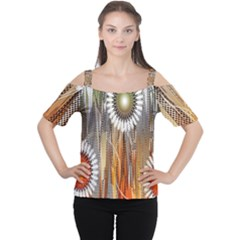 Floral Abstract Pattern Background Women s Cutout Shoulder Tee