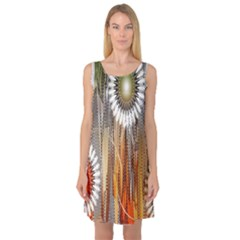Floral Abstract Pattern Background Sleeveless Satin Nightdress