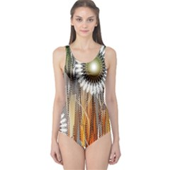 Floral Abstract Pattern Background One Piece Swimsuit