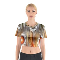 Floral Abstract Pattern Background Cotton Crop Top