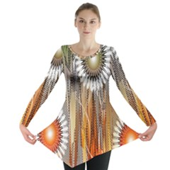Floral Abstract Pattern Background Long Sleeve Tunic