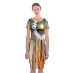Floral Abstract Pattern Background Classic Short Sleeve Midi Dress