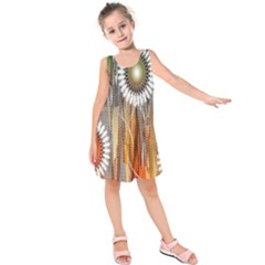 Floral Abstract Pattern Background Kids  Sleeveless Dress