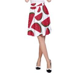 Fruit Watermelon Seamless Pattern A Line Skirt