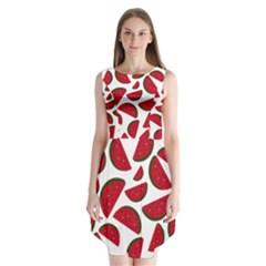 Fruit Watermelon Seamless Pattern Sleeveless Chiffon Dress