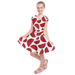 Fruit Watermelon Seamless Pattern Kids  Short Sleeve Dress