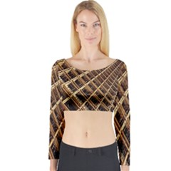 Construction Site Rusty Frames Making A Construction Site Abstract Long Sleeve Crop Top