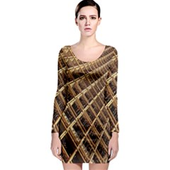 Construction Site Rusty Frames Making A Construction Site Abstract Long Sleeve Bodycon Dress