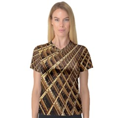Construction Site Rusty Frames Making A Construction Site Abstract Women s V Neck Sport Mesh Tee