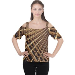 Construction Site Rusty Frames Making A Construction Site Abstract Women s Cutout Shoulder Tee