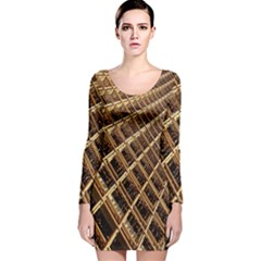 Construction Site Rusty Frames Making A Construction Site Abstract Long Sleeve Velvet Bodycon Dress