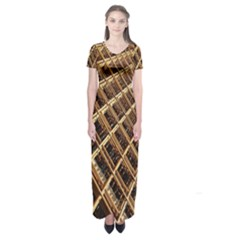 Construction Site Rusty Frames Making A Construction Site Abstract Short Sleeve Maxi Dress