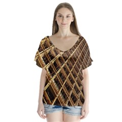 Construction Site Rusty Frames Making A Construction Site Abstract Flutter Sleeve Top