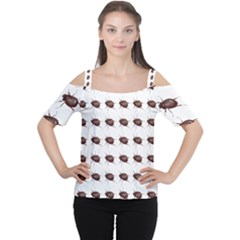Insect Pattern Women s Cutout Shoulder Tee
