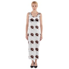 Insect Pattern Fitted Maxi Dress
