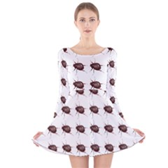 Insect Pattern Long Sleeve Velvet Skater Dress