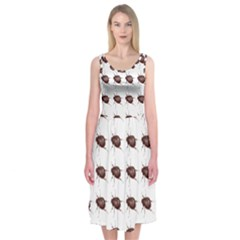 Insect Pattern Midi Sleeveless Dress