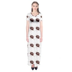 Insect Pattern Short Sleeve Maxi Dress