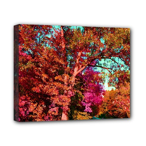 Abstract Fall Trees Saturated With Orange Pink And Turquoise Canvas 10  x 8