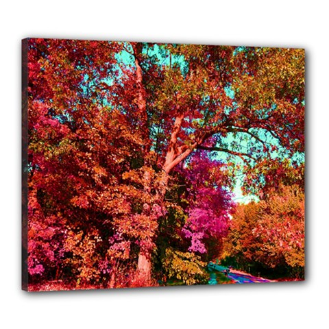 Abstract Fall Trees Saturated With Orange Pink And Turquoise Canvas 24  x 20
