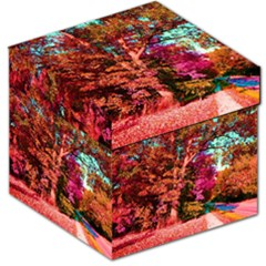 Abstract Fall Trees Saturated With Orange Pink And Turquoise Storage Stool 12