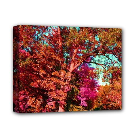 Abstract Fall Trees Saturated With Orange Pink And Turquoise Deluxe Canvas 14  x 11