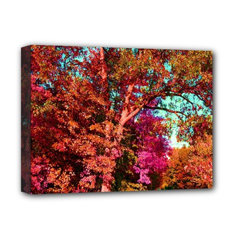 Abstract Fall Trees Saturated With Orange Pink And Turquoise Deluxe Canvas 16  x 12