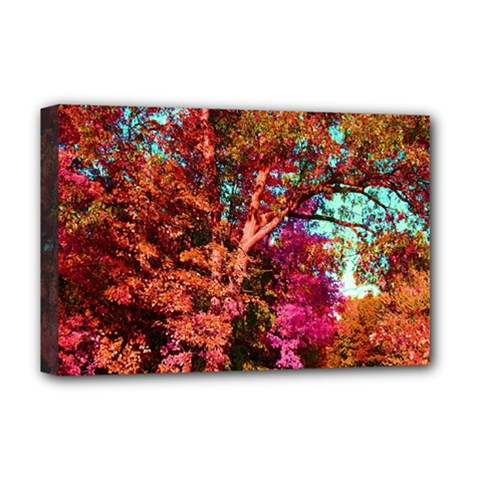 Abstract Fall Trees Saturated With Orange Pink And Turquoise Deluxe Canvas 18  x 12