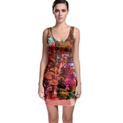 Abstract Fall Trees Saturated With Orange Pink And Turquoise Sleeveless Bodycon Dress