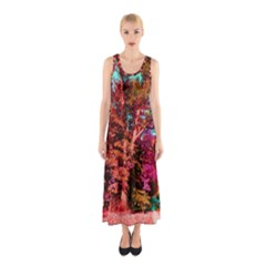 Abstract Fall Trees Saturated With Orange Pink And Turquoise Sleeveless Maxi Dress