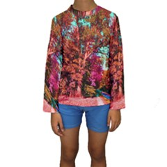 Abstract Fall Trees Saturated With Orange Pink And Turquoise Kids  Long Sleeve Swimwear