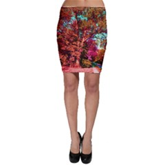 Abstract Fall Trees Saturated With Orange Pink And Turquoise Bodycon Skirt