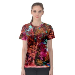 Abstract Fall Trees Saturated With Orange Pink And Turquoise Women s Sport Mesh Tee