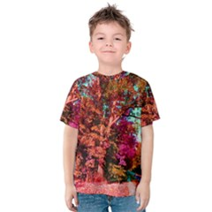 Abstract Fall Trees Saturated With Orange Pink And Turquoise Kids  Cotton Tee