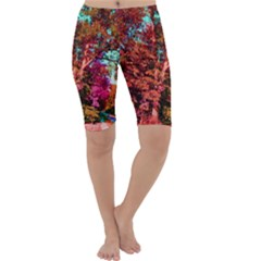Abstract Fall Trees Saturated With Orange Pink And Turquoise Cropped Leggings