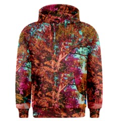Abstract Fall Trees Saturated With Orange Pink And Turquoise Men s Pullover Hoodie