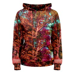 Abstract Fall Trees Saturated With Orange Pink And Turquoise Women s Pullover Hoodie