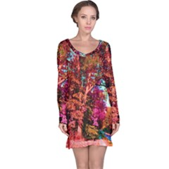 Abstract Fall Trees Saturated With Orange Pink And Turquoise Long Sleeve Nightdress