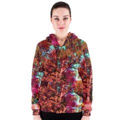 Abstract Fall Trees Saturated With Orange Pink And Turquoise Women s Zipper Hoodie