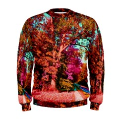 Abstract Fall Trees Saturated With Orange Pink And Turquoise Men s Sweatshirt