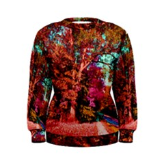 Abstract Fall Trees Saturated With Orange Pink And Turquoise Women s Sweatshirt